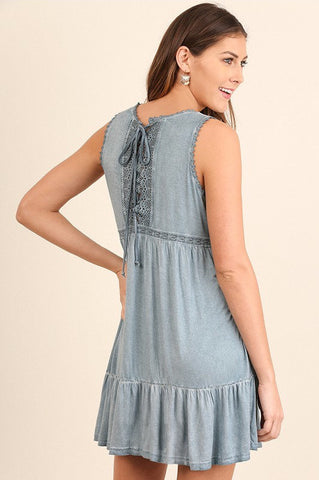 UMGEE-Acid Wash & Lace Babydoll Dress (Blue)