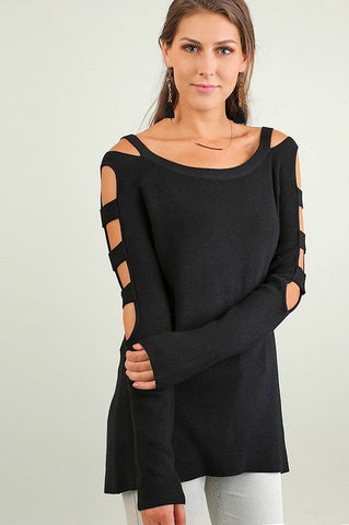 UMGEE-Cutout Sleeved Sweater (Black)