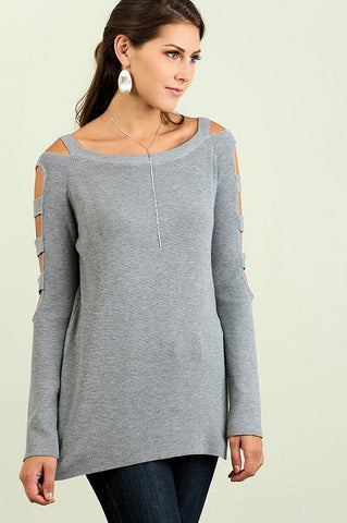 UMGEE-Cutout Sleeved Sweater (Grey)