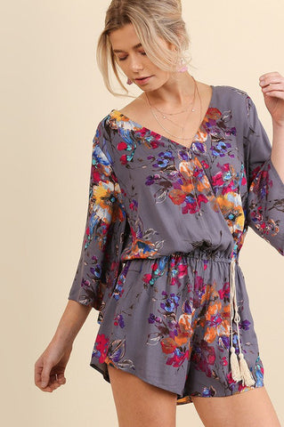 **PRE-ORDER** UMGEE-Paint by Number Floral Romper (Grey)