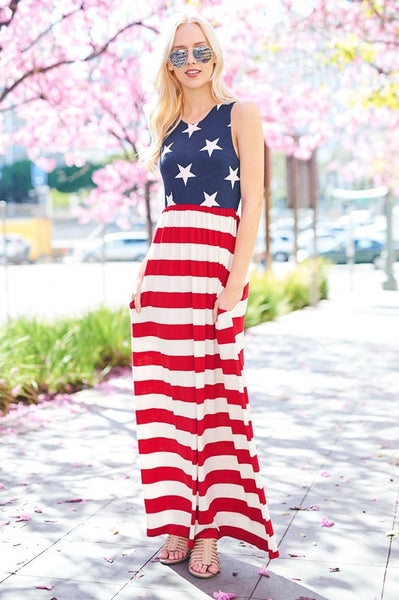 Stars & Stripes Patriotic Maxi Dress
