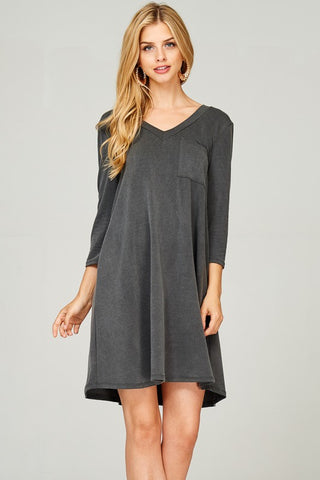 Acid Wash French Terry Shift Dress (Black)