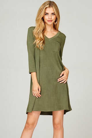 Acid Wash French Terry Shift Dress (Olive)