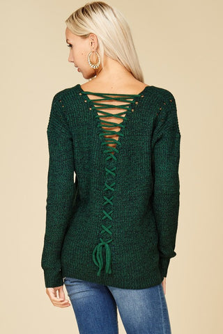 All Laced Up Sweater (Green)