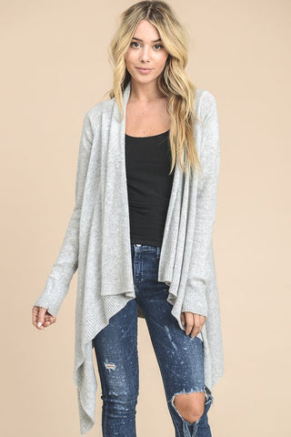 Angora Knit Cardigan (Grey)