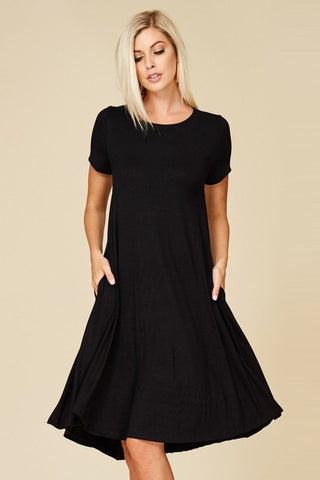Basic Jersey Knit Dress (Black)