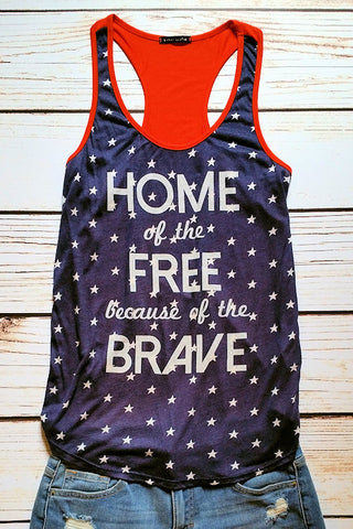 View of a tank top with blue front with white stars and Home of the Free Because of the Brave in white lettering and the back in red