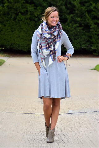 Only the Best Basic T-Shirt Dress-Grey