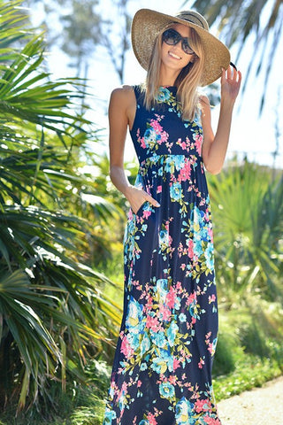 Bloom Floral Maxi Dress (Navy)