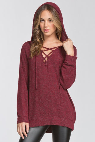 Brushed Knit Hooded Tunic (Burgundy)