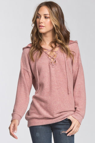 Brushed Knit Hooded Tunic (Mauve)