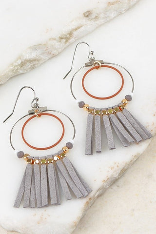 Circles & Suede Tassel Earrings