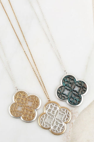 Clover Pendant Drop Necklace