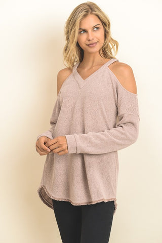 Cold-Shoulder Frayed Hem Sweater (Mauve)