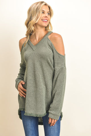 Cold-Shoulder Frayed Hem Sweater (Olive)