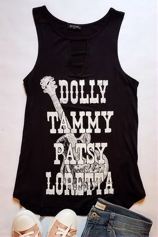 Dolly Tammy Patsy Loretta Graphic Tank Top (Black)