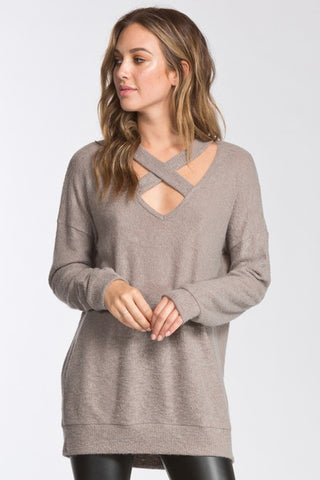 Cross-Front Ribbed Knit Tunic (Taupe)