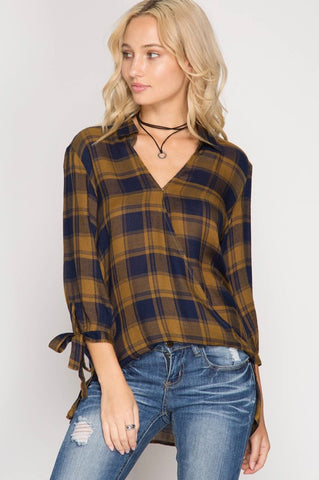 Crossover Plaid Blouse (Mustard)