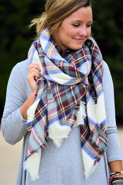 Cute & Cozy Plaid Scarf-Sky