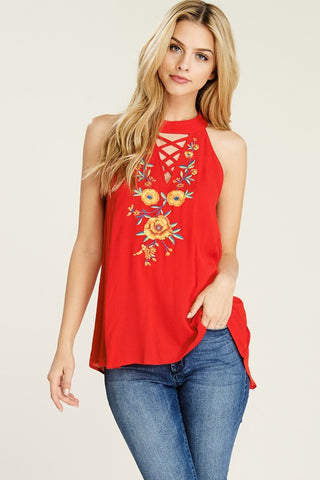 Embroidered Halter Tank Top (Red)