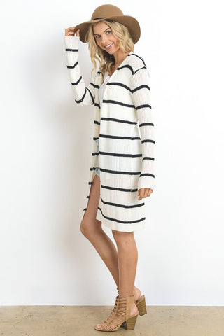 Essential Striped Cardigan (Black/White)