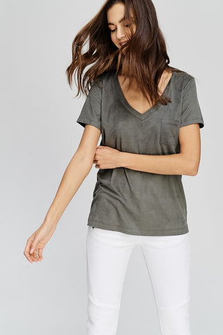 Faux Suede Pocket T-Shirt (Olive)
