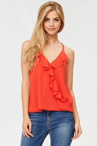 Faux-Tuck Ruffle Cross-Over Tank Top (Tomato)