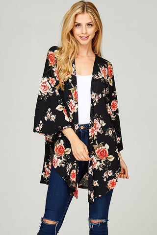 Summer-to-Fall Floral Cardigan (Black)
