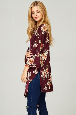 Summer-to-Fall Floral Cardigan (Burgundy)