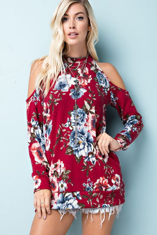 Floral Cold-Shoulder Top (Red)