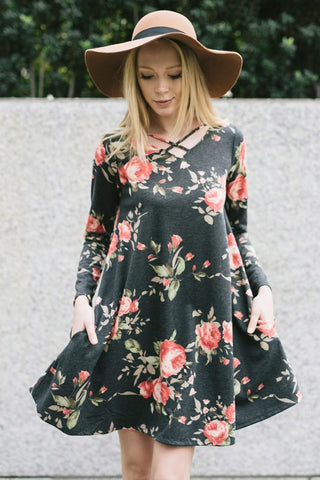Floral Swing Dress (Charcoal)