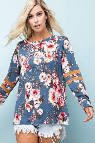 French Terry Floral Pullover (Teal)