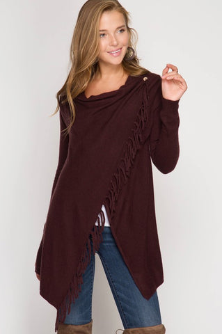 Fringe Benefits Wrap Cardigan (Plum)