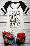 I Can't My Boy Has Practice Baseball Graphic T-Shirt (Black)