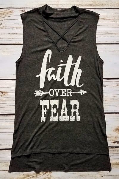 Faith Over Fear Graphic Tank Top (Charcoal)