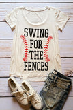 Swing for the Fences Baseball Graphic T-Shirt (White)