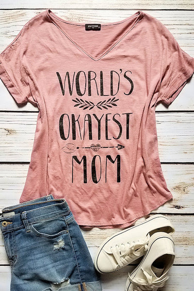 World's Okayest Mom Graphic T-Shirt (Blush)