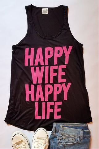 Happy Wife, Happy Life Graphic Tank Top (Black)