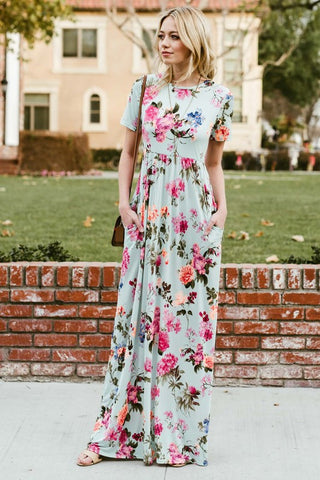 Head Turner Floral Maxi Dress (Mint)