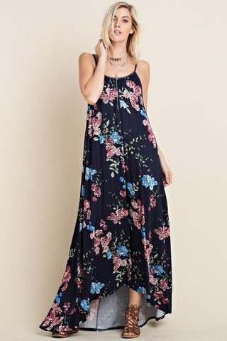 High-Low Floral Maxi Dress (Navy)
