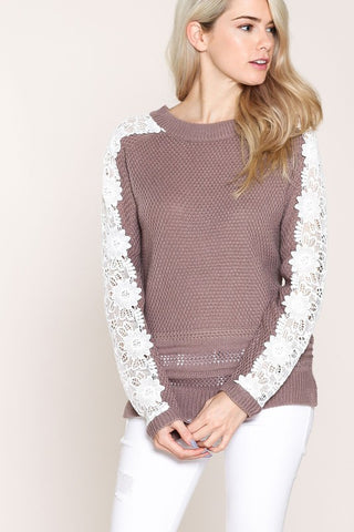 Lace-Sleeved Sweater (Mauve)