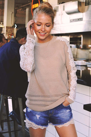 Lace-Sleeved Sweater (Taupe)