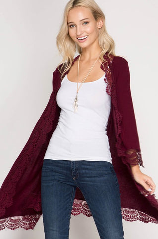 Lace-Trimmed Cardigan (Burgundy)