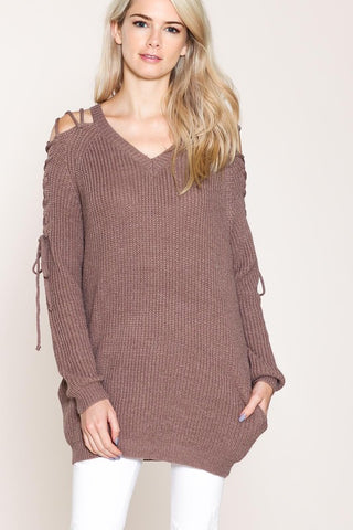 Laced-Up Open-Shoulder Sweater (Mauve)