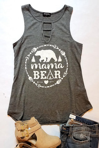 Mama Bear Graphic Tank Top (Charcoal)