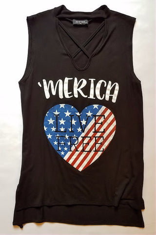 MERICA Graphic Tank Top (Black)