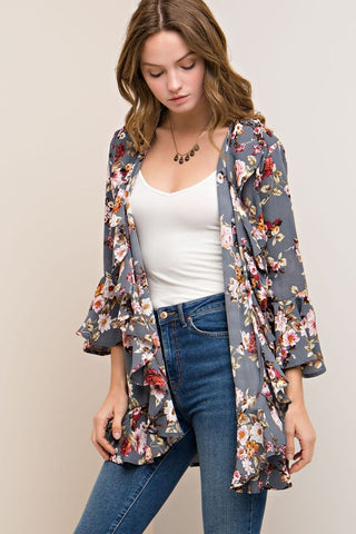 Nothing Better Floral Kimono (Grey)