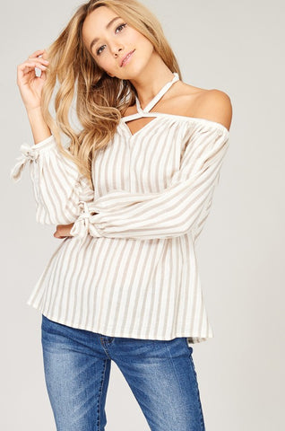 Pinstripe Off-Shoulder Halter Blouse (Taupe)