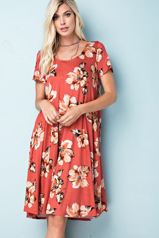 Pumpkin Spice Floral A-Line Dress