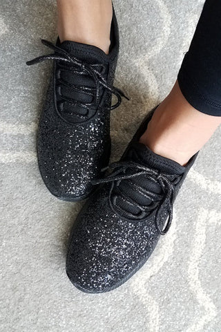 Qupid Spyrock Glitter Sneakers (Black)